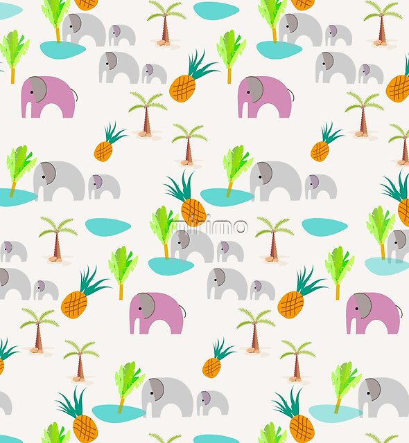 Pink Elephants Pattern by mirimo
