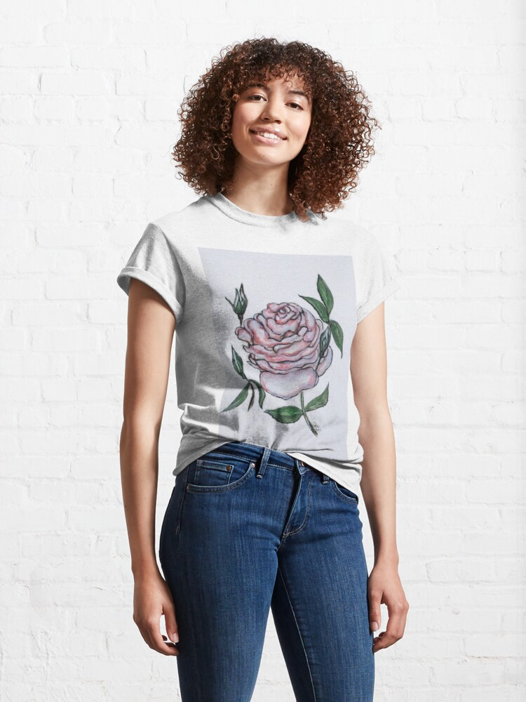 Alternate view of Pink And White Rose Classic T-Shirt