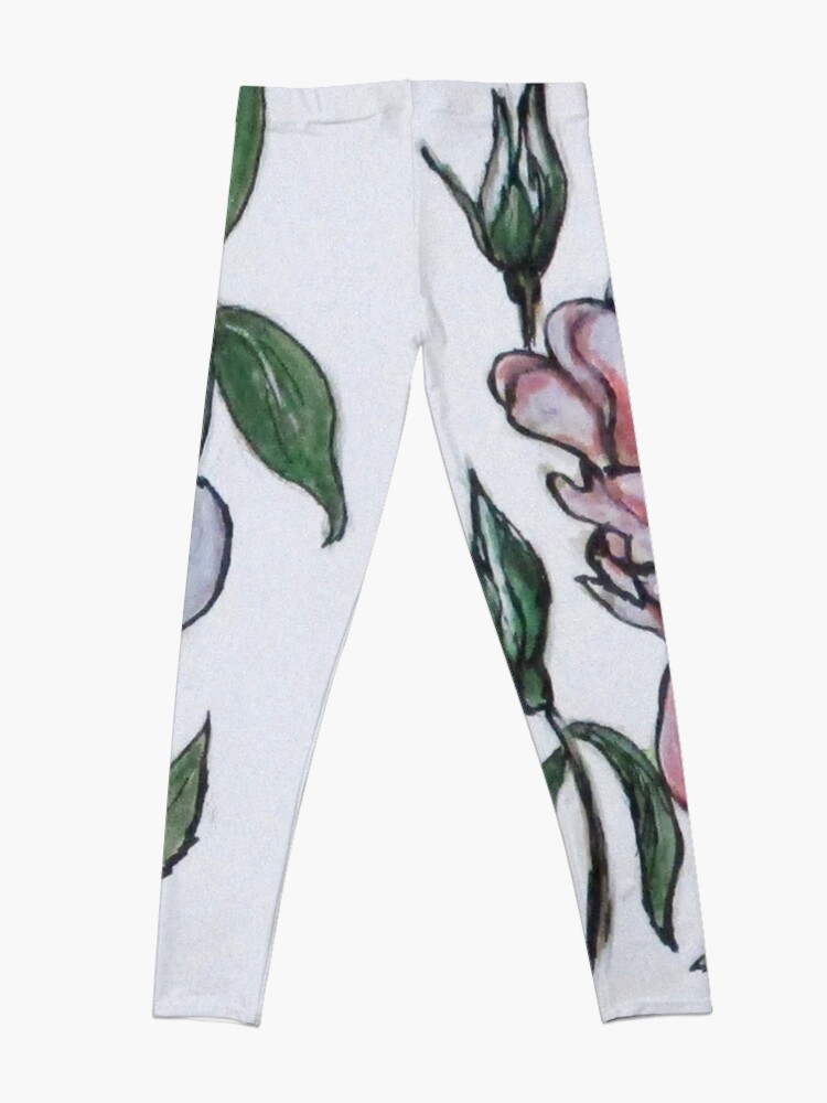 Alternate view of Pink And White Rose Leggings