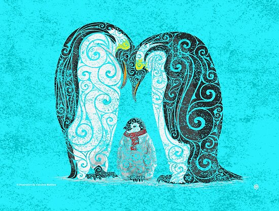 Swirly Penguin Family by . VectorInk