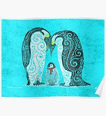 Swirly Penguin Family Poster