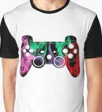 PlayStation Controller Pixelated Flame Design  Graphic T-Shirt