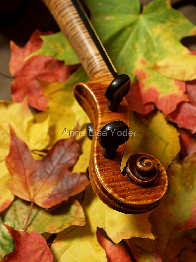 Maple Violin Scroll on Maple Leaves by Anna Lisa Yoder