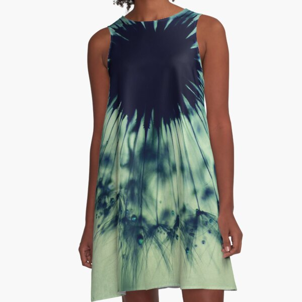 dandelion flower - turquoise blue floral photography by Ingrid Beddoes A-Line Dress