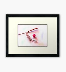 Glowing Grape, straw and feather Framed Print