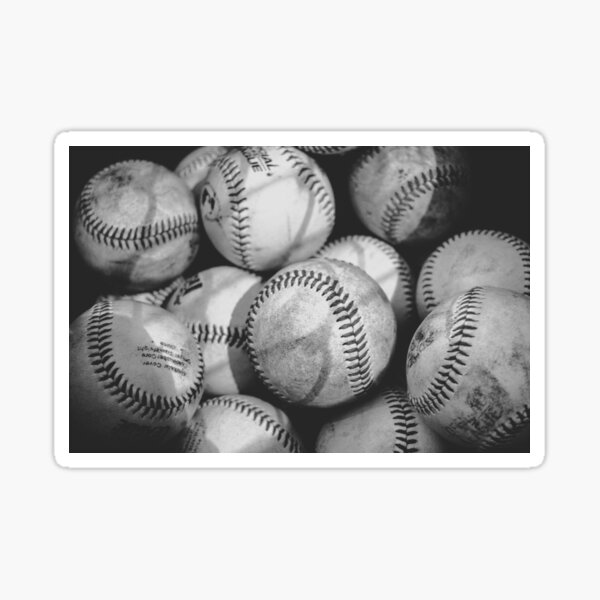 Baseballs in Black and White  Sticker