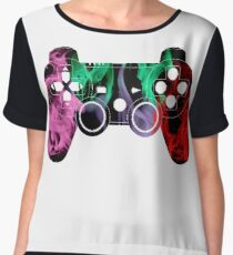 PlayStation Controller Pixelated Flame Design  Women's Chiffon Top