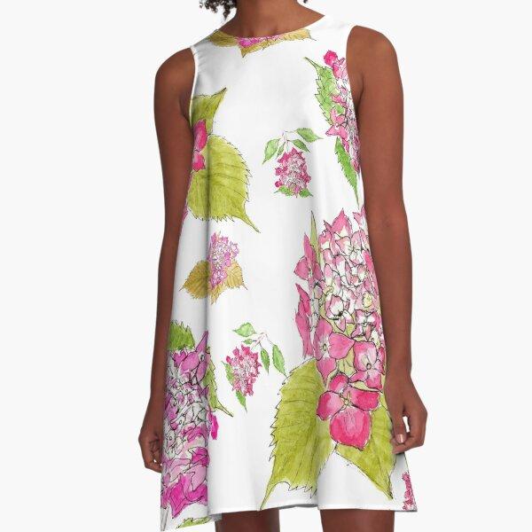 Summer pink hydrangeas  A-Line Dress
