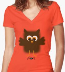 Owl-rachnophobia Women's Fitted V-Neck T-Shirt