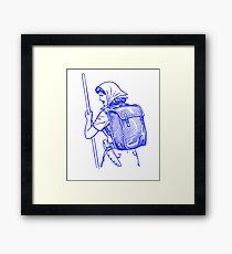 Cool Blue Retro Hiking Woman Framed Print