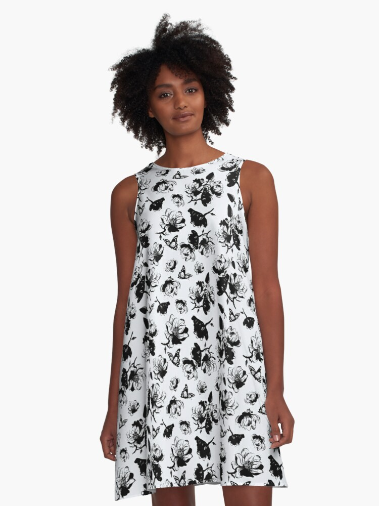 Beautiful Black & White Magnolia Pattern A-Line Dress Front