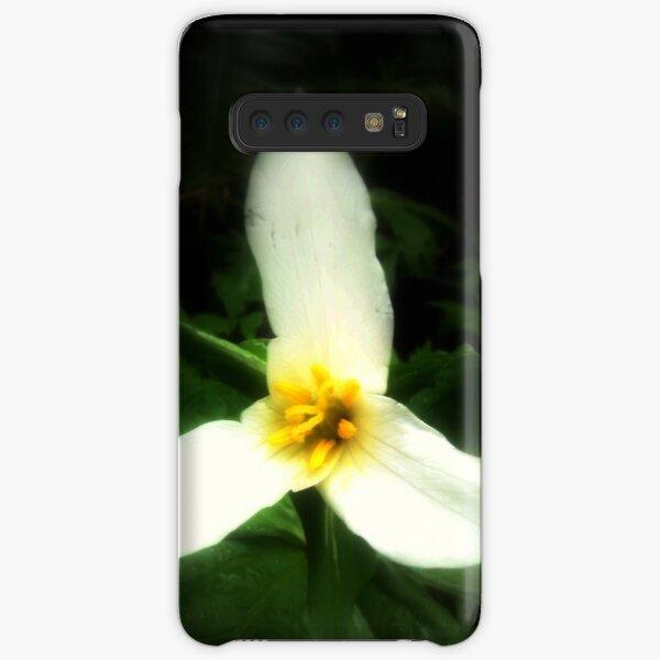 white trillium, dark background Samsung Galaxy Snap Case