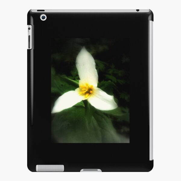 white trillium, dark background iPad Snap Case