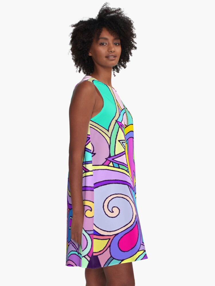 Alternate view of Psychedelic Hippy Retro Peace Art A-Line Dress