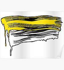 Lichtenstein Brush Strokes: Yellow Poster