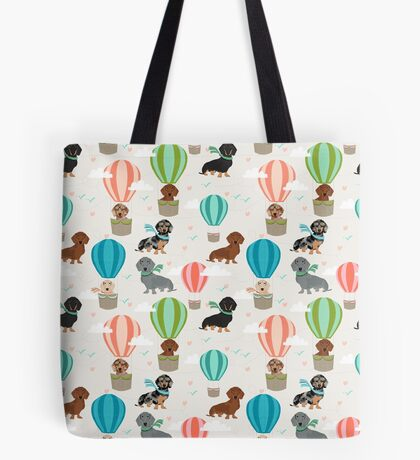 Dachshund hot air balloon dachsie doxie dog breed cute pattern for weener dog lover Tote Bag