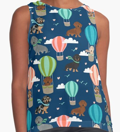 Dachshund hot air balloon dachsie doxie dog breed cute pattern for weener dog lover Sleeveless Top