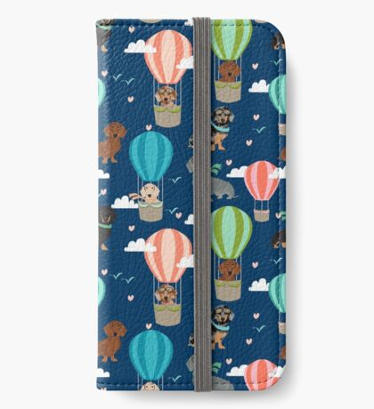 Dachshund hot air balloon dachsie doxie dog breed cute pattern for weener dog lover iPhone Wallet