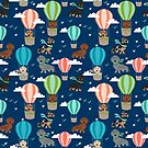 Dachshund hot air balloon dachsie doxie dog breed cute pattern for weener dog lover by PetFriendly