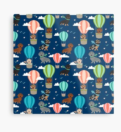Dachshund hot air balloon dachsie doxie dog breed cute pattern for weener dog lover Metal Print