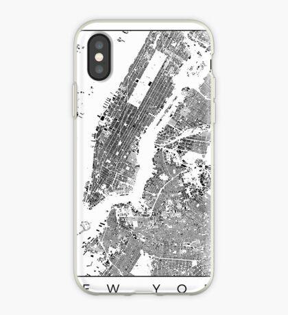 New York Map Schwarzplan Only Buildings Urban Plan iPhone Case