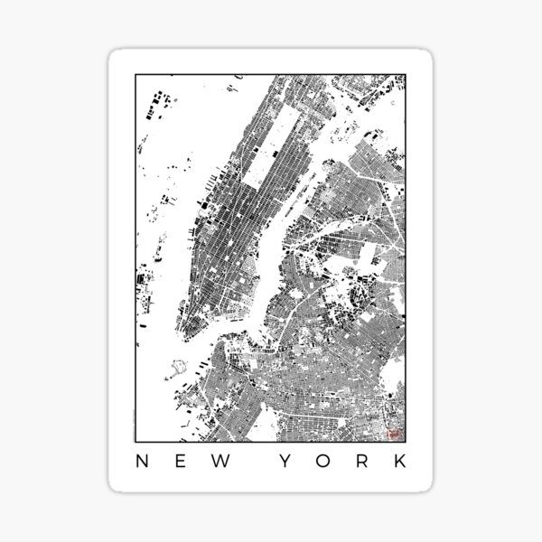 New York Map Schwarzplan Only Buildings Urban Plan Sticker