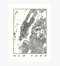 New York Map Schwarzplan Only Buildings Urban Plan Art Print