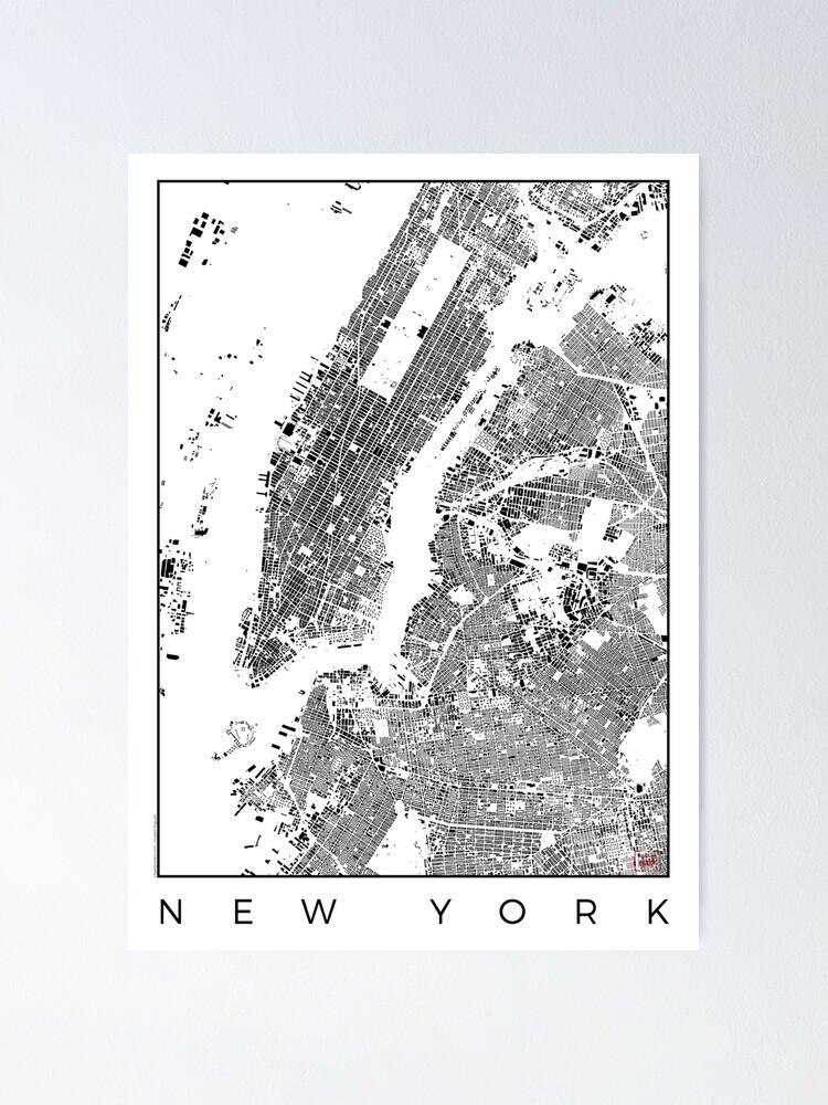 Alternate view of New York Map Schwarzplan Only Buildings Urban Plan Poster