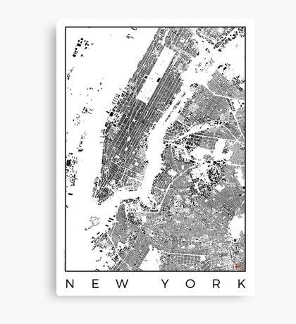 New York Map Schwarzplan Only Buildings Urban Plan Canvas Print