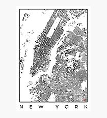 New York Map Schwarzplan Only Buildings Urban Plan Photographic Print
