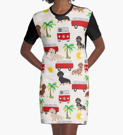 Dachshund summer beach dachsie doxie dog breed cute pattern for weener dog lover Graphic T-Shirt Dress