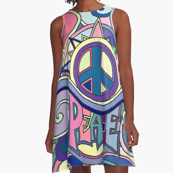 Psychedelic Hippy Retro Peace Art Blue A-Line Dress