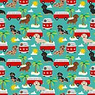 Dachshund summer beach dachsie doxie dog breed cute pattern for weener dog lover by PetFriendly