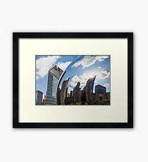 Chicago city reflection on the Cloud gate Framed Print