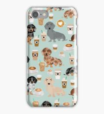 Dachshund coffee latte dachsie doxie dog breed cute pattern for weener dog lover iPhone Case/Skin