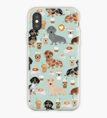 Dachshund coffee latte dachsie doxie dog breed cute pattern for weener dog lover iPhone Case