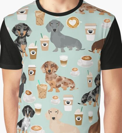 Dachshund coffee latte dachsie doxie dog breed cute pattern for weener dog lover Graphic T-Shirt