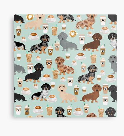 Dachshund coffee latte dachsie doxie dog breed cute pattern for weener dog lover Metal Print