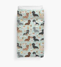 Dachshund coffee latte dachsie doxie dog breed cute pattern for weener dog lover Duvet Cover