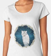 White Tiger with Orchid Grass Wreath Women's Premium T-Shirt