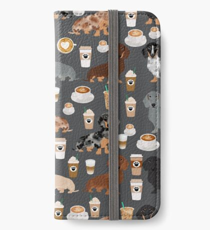 Dachshund coffee latte dachsie doxie dog breed cute pattern for weener dog lover iPhone Wallet