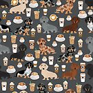 Dachshund coffee latte dachsie doxie dog breed cute pattern for weener dog lover by PetFriendly