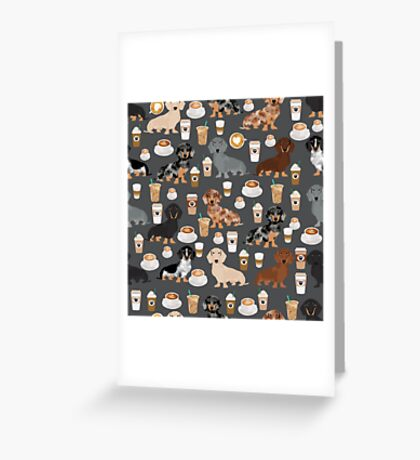 Dachshund coffee latte dachsie doxie dog breed cute pattern for weener dog lover Greeting Card