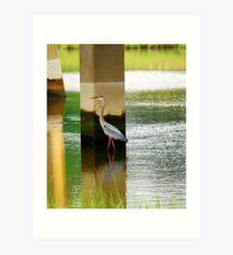 Heron Under The bridge Art Print