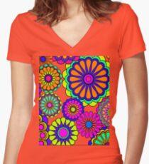 Flower Power Retro Stil Hippie Blumen Tailliertes T-Shirt mit V-Ausschnitt