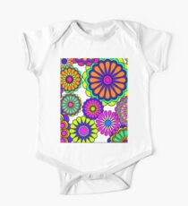 Flower Power Retro Style Hippy Flowers One Piece - Short Sleeve