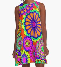Flower Power Retro Stil Hippie Blumen A-Linien Kleid