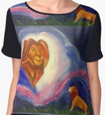 Lions in the sky painting Women's Chiffon Top