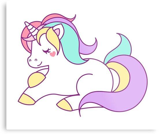 Lienzos metálicos «unicornio en colores pastel» de fourretout ...