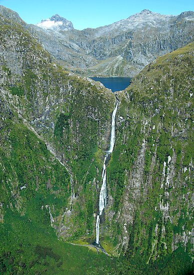 Sutherland falls and Lake Quill MIlford South Island New Zealand by Duncan Drummond